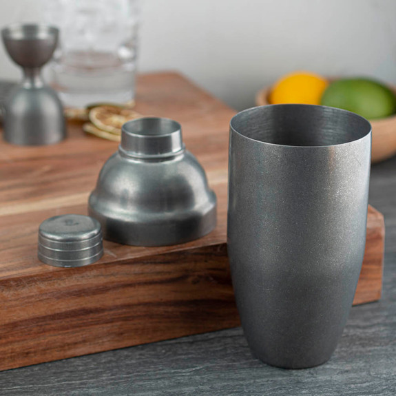 Barfly Japanese Style 3-Piece Cocktail Shaker - 24 oz - Vintage Stainless Steel Finish