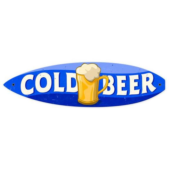 Vintage Cold Beer Surfboard Metal Bar Sign