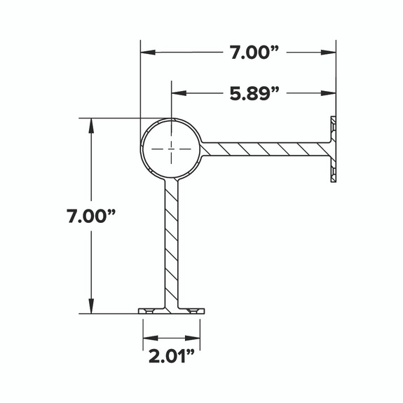 90 deg. Post Foot Rail Bracket - Gunmetal Grey - 2-inch OD