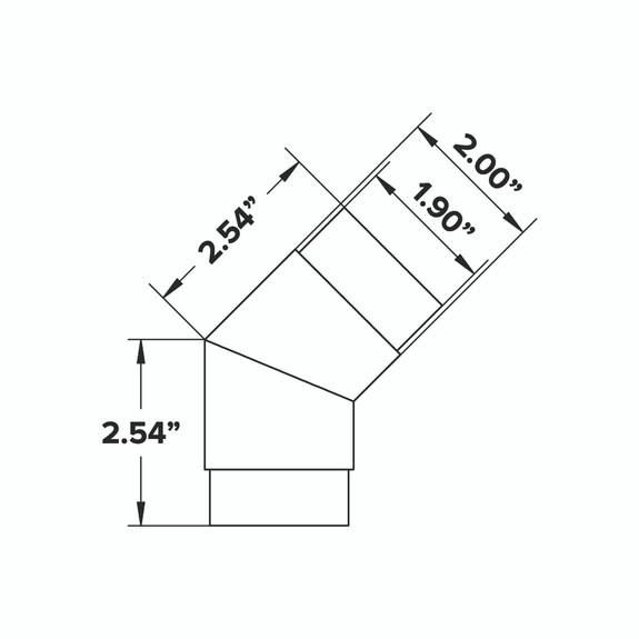 "Flush Angle Fitting 135(45) Degree - Brushed (Satin) Brass - 2"" OD"