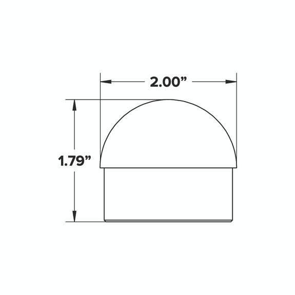 """Domed End Cap - Brushed (Satin) Brass - 2"""" OD"""