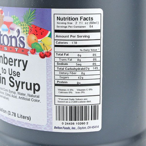 Loganberry Concentrate Syrup Nutritional Facts