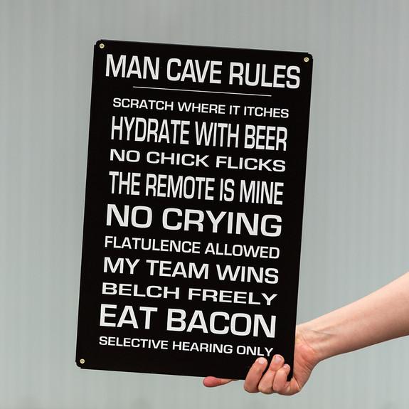 Man Cave Rules Metal Bar Sign