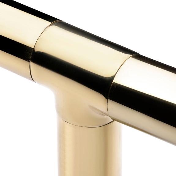 "Flush Tee Hand Rail Fitting - Polished Brass - 2"" OD"