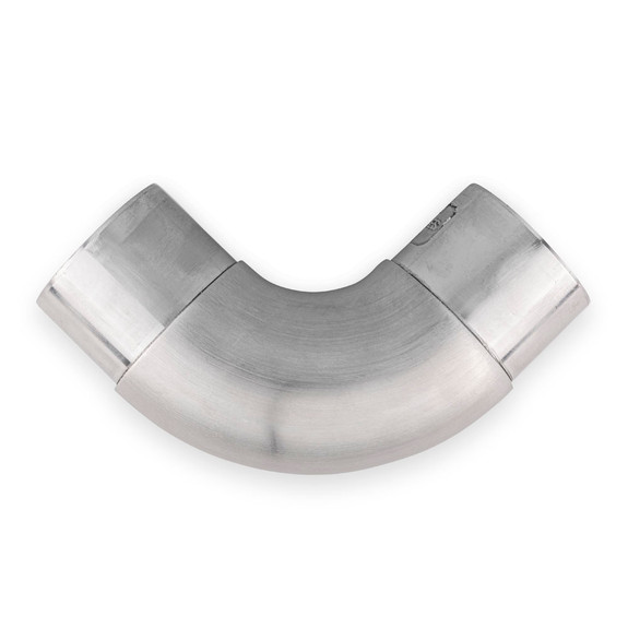 """Curved Flush Elbow Fitting 90 Degree - Brushed Stainless Steel -2"""" OD Diagram"""