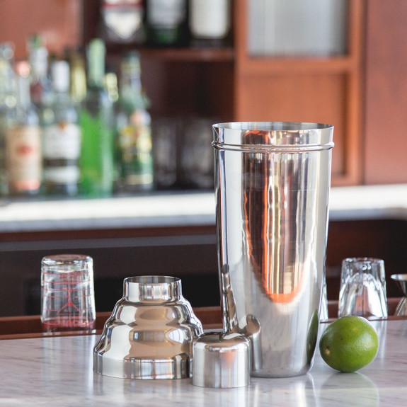 Behind The Bar��� Giant 3-Piece Stainless Steel Cocktail Shaker - 60 oz
