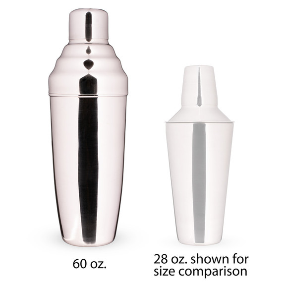 Behind The Bar�� Giant 3-Piece Stainless Steel Cocktail Shaker - 60 oz