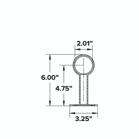 """Rounded Center Post Bracket - Polished Brass - 2"""" OD"""