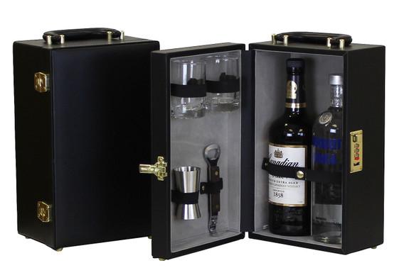 Portable Two Bottle Travel Bar Set - 5 Pieces