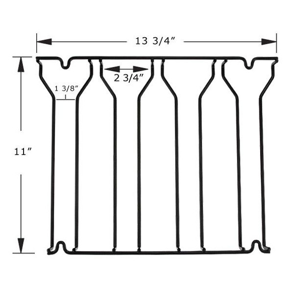 4 Channel Glass Rack - Black with Dimensions