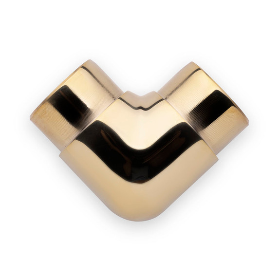 "Flush Elbow Fitting 90 Degree - Polished Brass - 1.5"" OD"