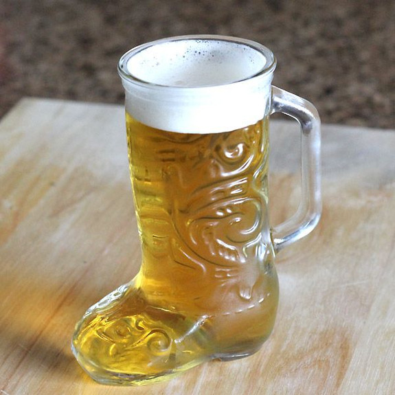 Anchor-Hocking Glass Beer Boot Mug on Table