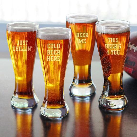 Beer Sayings Pilsner Glasses - Set of 4