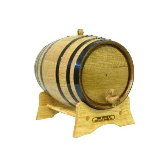 Oak Beverage Dispensing Barrel with Black Steel Bands - 5 Liter