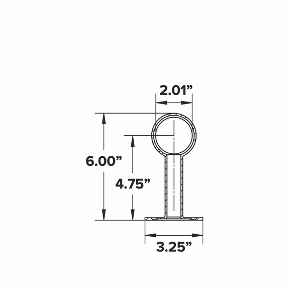 """Rounded Center Post Bracket - Brushed (Satin) Stainless Steel - 2"""" OD"""