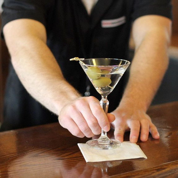 Libbey Speakeasy Prohibition Era Martini Glass on Bar