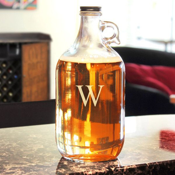 Personalized Glass Beer Growler - 64 oz