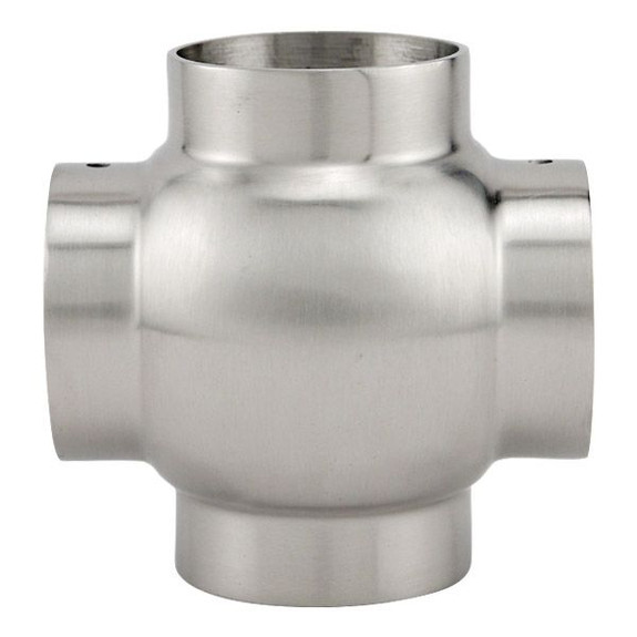 Ball Cross Elbow Fitting - Brushed (Satin) Stainless Steel - 1 1/2-inch OD