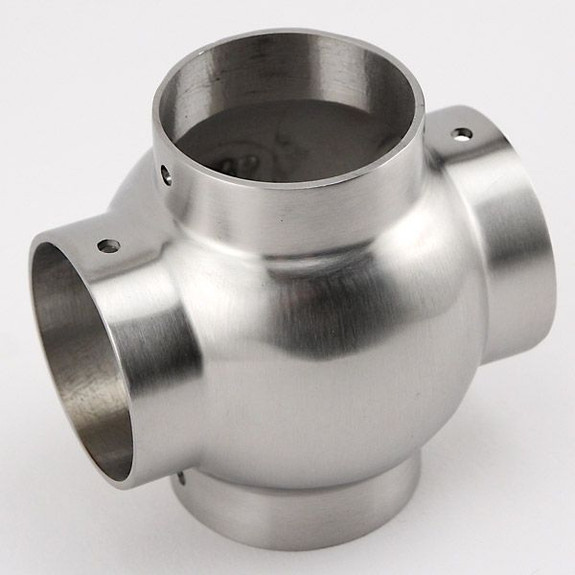 Ball Cross Elbow Fitting - Brushed (Satin) Stainless Steel - 1 1/2-inch OD Close Up