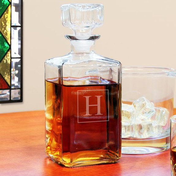 Personalized Square Liquor Decanter on Table