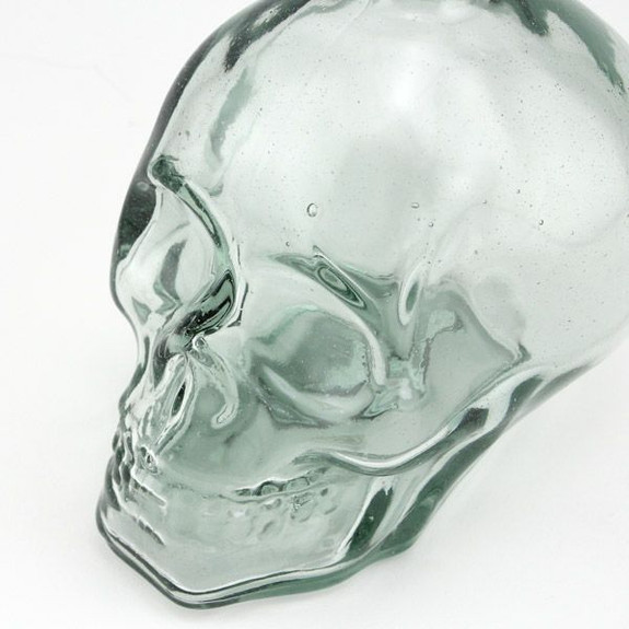 Glass Skull Shaped Liquor Decanter side view