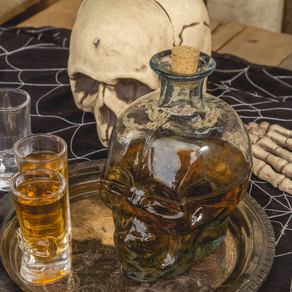 Glass Skull Shaped Liquor Decanter - 1 Liter