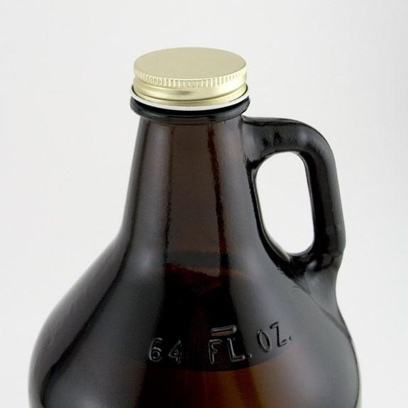 Beer Growler Gold Metal Replacement Screw Cap on Growler