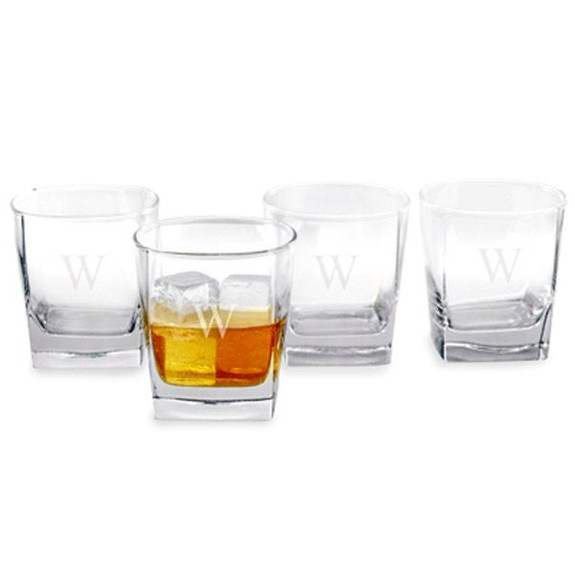 Personalized Square Rocks Glasses - 10.5 oz - Set of 4