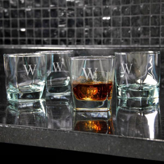Personalized Square Rocks Glasses - 10.5 oz on Table