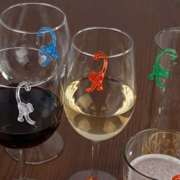 Plastic Monkey Drink Marker Charms on Glasses