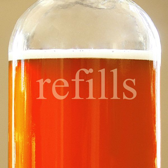 Refills Clear Glass Beer Growler Close Up