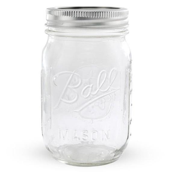 Ball Mason Jar with Lid - Regular Mouth - 16 oz