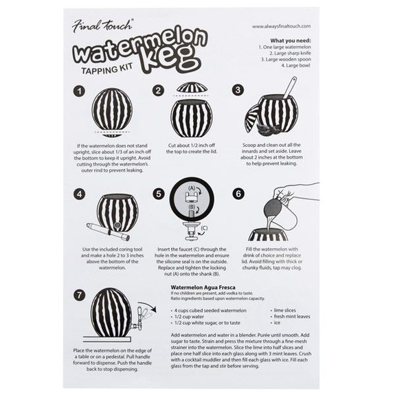 watermelon keg tap instruction sheet
