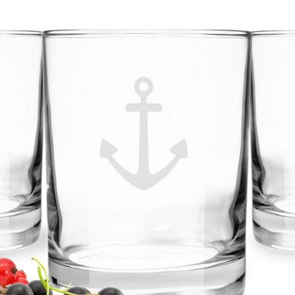 Nautical Anchor Rocks Glasses - 14 oz - Set of 4