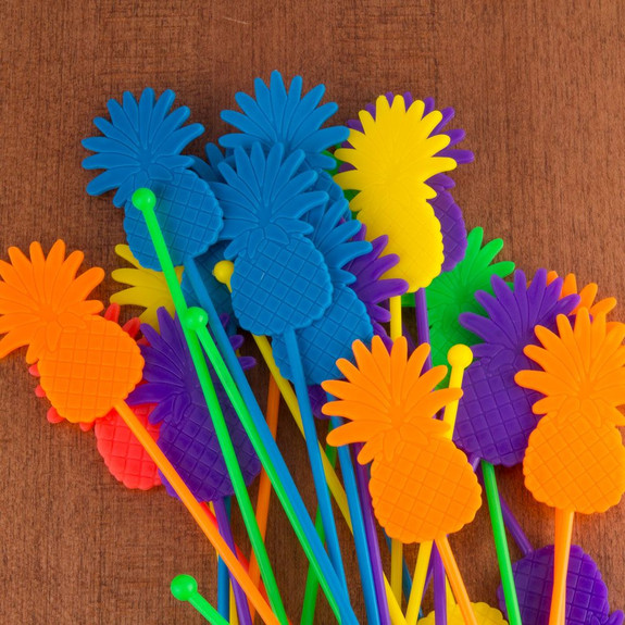 Pineapple Plastic Stir Sticks - Assorted Colors - Pack of 25