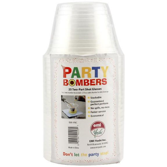 Party Bombers Shot Cups - Plastic - Sleeve of 25 in Packaging