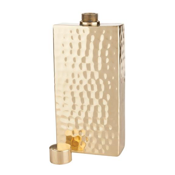 Viski Belmont Hammered Brass Flask - 7 oz