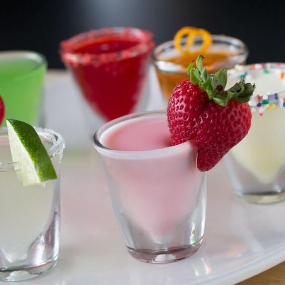 Strawberry Daiquiri Flavored Jello Shot Mix in shot glass