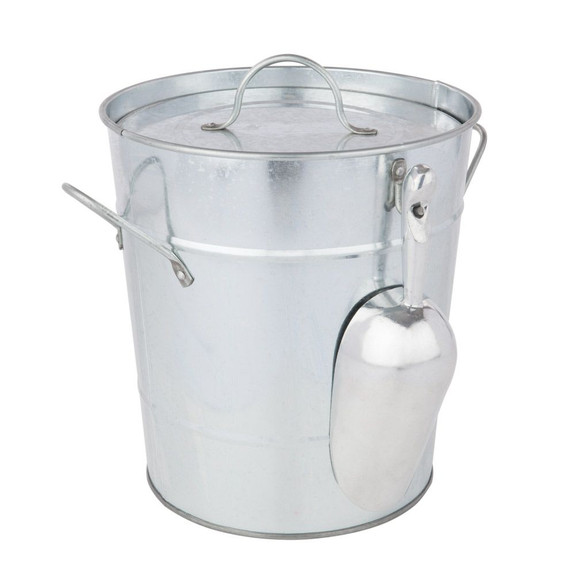 Country Home Galvanized Ice Bucket with Lid & Scoop - 2.85 Gallons
