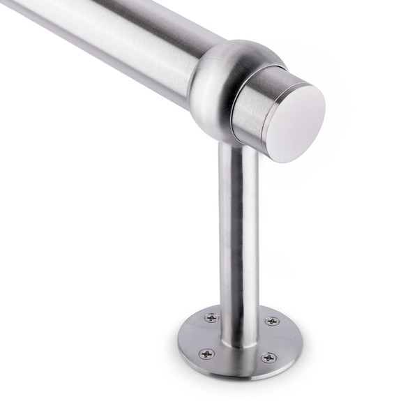 """Tall Rounded Center Post Bracket - Brushed (Satin) Stainless Steel - 2"""" OD"""