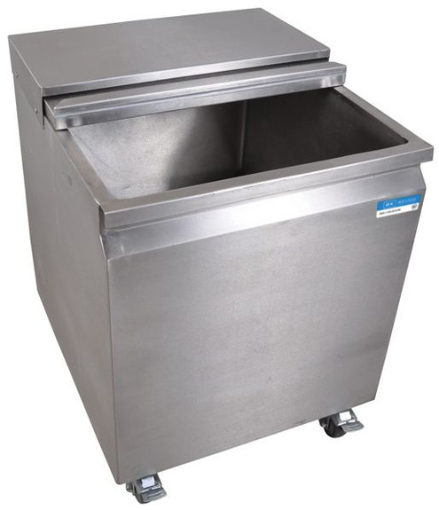 Stainless Steel Mobile Ice Bin on Casters - 117 lbs Ice Capacity