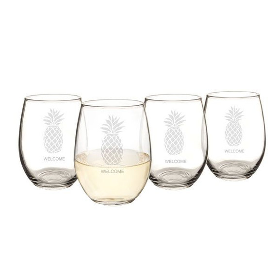 Personalized Pineapple Stemless Wine & Cocktail Glasses - 21 oz - Set of 4
