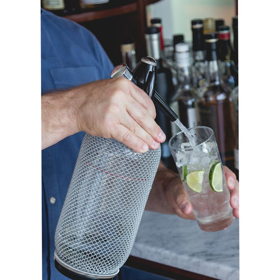 Behind The Bar�� Glass Soda Siphon with Metal Mesh - 1 Liter
