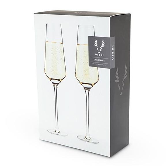 Viski Raye Crystal Champagne Flutes - 8 oz - Set of 2