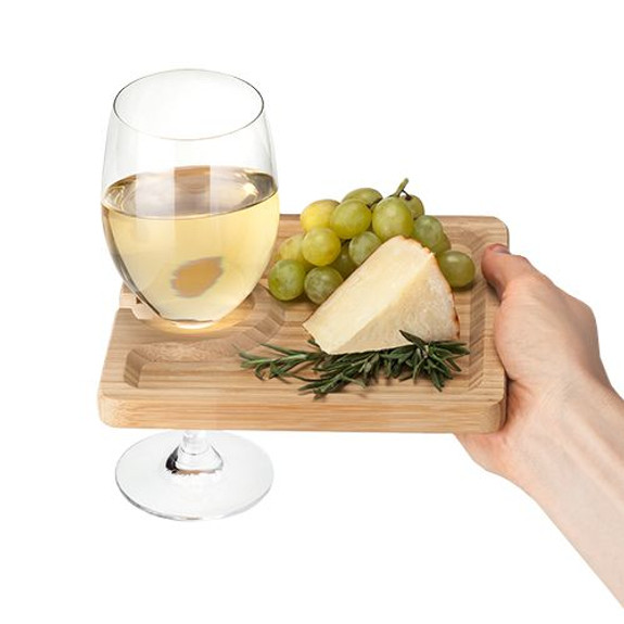 Bamboo Appetizer Plate & Wine Glass Holder