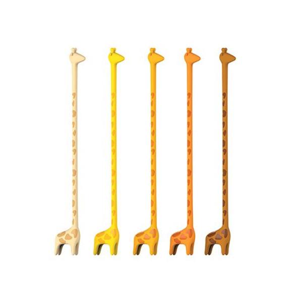 Giraffe Reusable Plastic Swizzle Stir Sticks - Set of 5