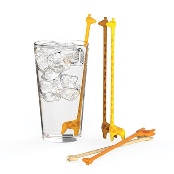 Giraffe Reusable Plastic Swizzle Stir Sticks - Set of 5