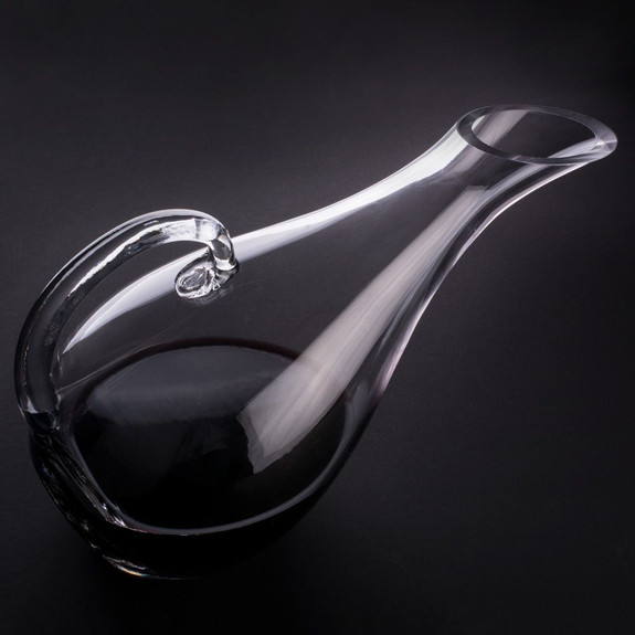 Hand-Blown Glass Broad Bowl Wine Decanter with Handle - 53 oz