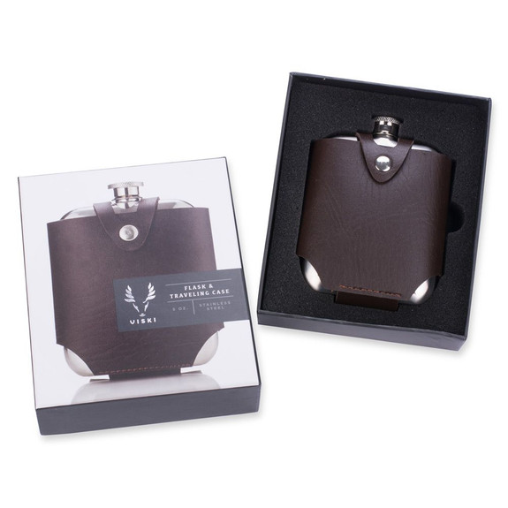 Viski Admiral Stainless Steel Flask with Travel Case