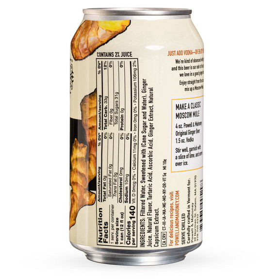 Powell & Mahoney Original Ginger Beer - 12 oz Cans - 4-Pack